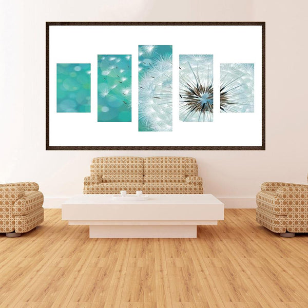 5 pcs-in one Combination 5D DIY Full Drill Diamond Painting Dandelion(95x45cm)