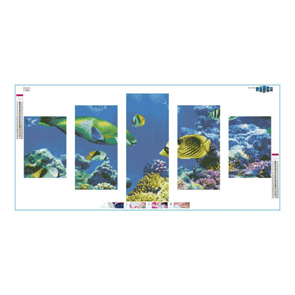 5 pcs-in One Combination 5D DIY Full Drill Diamond Painting Marine Organism(95x45cm)