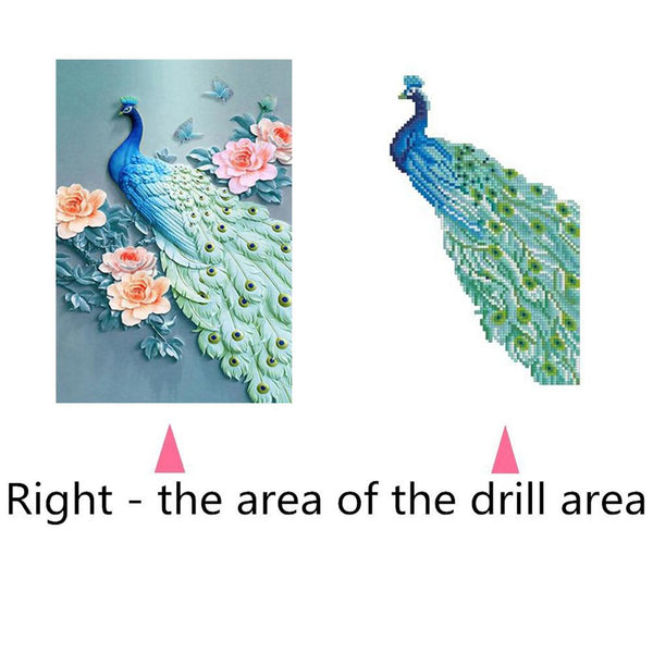 Peacock DIY Partial Drill Round Drill Diamond Painting