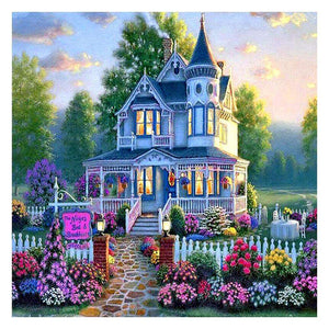 Flower Villa DIY Full Drill Round Diamond Painting Cross Stitch Art Craft