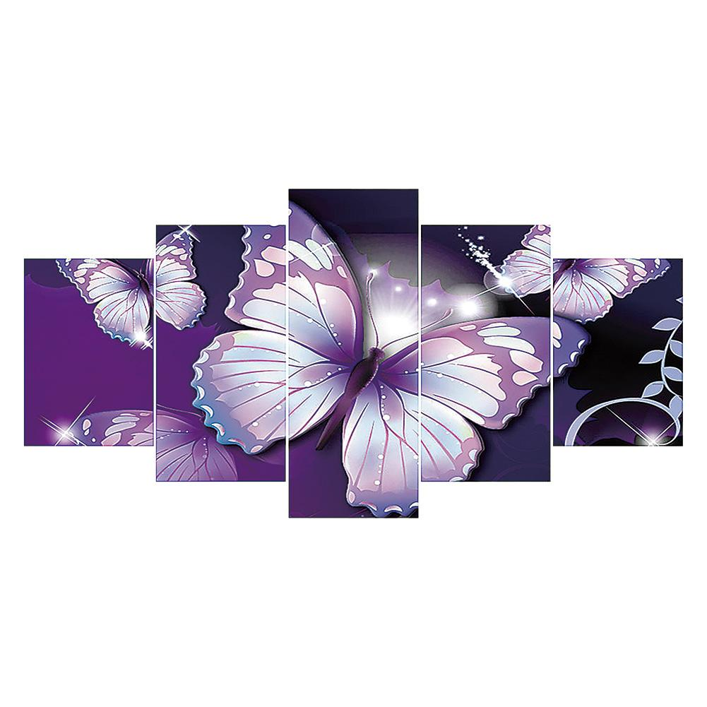 5 pcs-in One Combination 5D DIY Full Drill Diamond Painting Purple Butterfly(95x45cm)