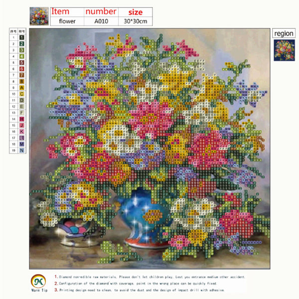 Flower 5D DIY Partial Drill Round Drill Diamond Painting