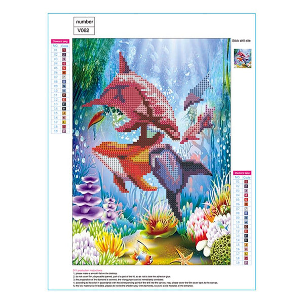Dolphin DIY Partial Drill Round Drill Diamond Painting