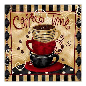 Retro Coffee 5D DIY Full Drill Round Drill Diamond Painting