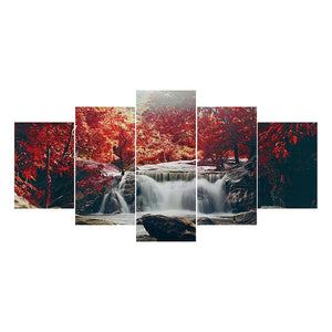 5 pcs in-One Combination5D DIY Full Drill Round Drill Diamond Painting Waterfall Forest Landscape(95x45cm)