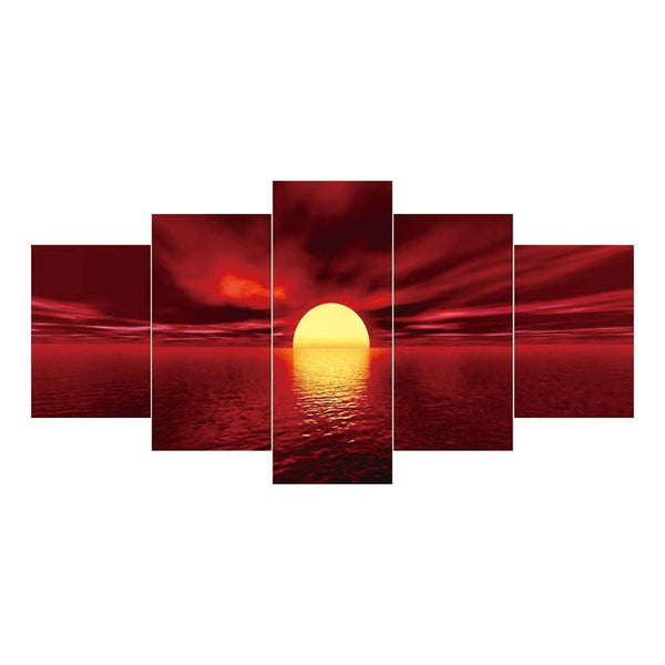 5 pcs-in one Combination 5D DIY Full Drill Diamond Painting Sunrise(95x45cm)