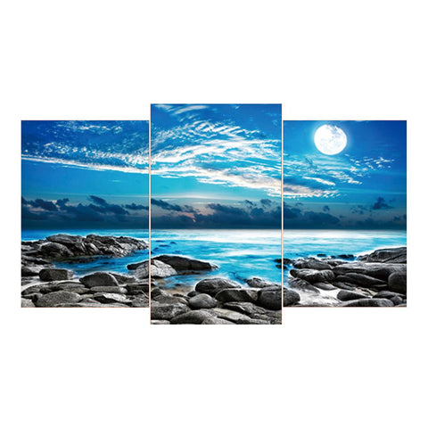 3 pcs-in one Combination DIY Full Drill Round Drill Diamond Painting Sea View(80x45cm)