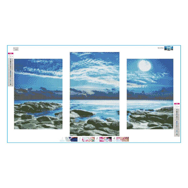 3 pcs-in one Combination DIY Sea View Full Drill Round Drill Diamond Painting