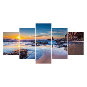 5 pcs-in one Combination DIY Full Drill Round Drill Diamond Painting Seascape(95x45cm)