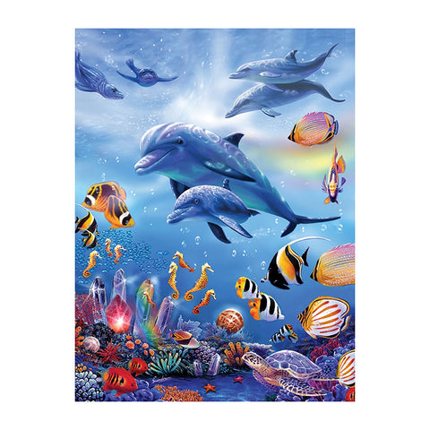 Dolphin DIY Full Drill Round Drill Diamond Painting(40 *50 cm/15.75*19.69in)