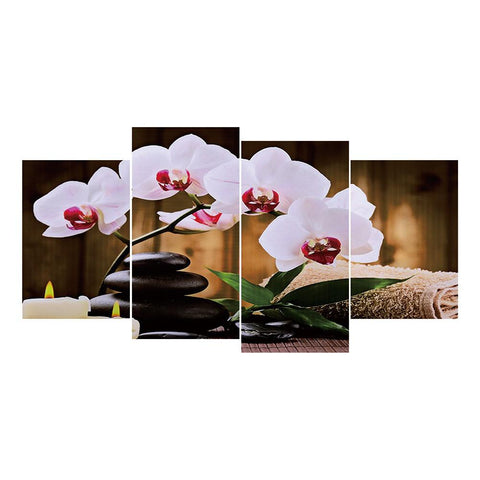 4 pcs-in one Combination 5D DIY Full Drill Round Drill Diamond Painting Moth Orchid(80x40cm)