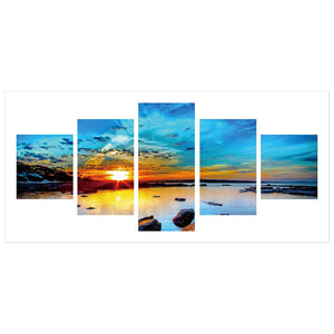 5 pcs-in one Combination 5D DIY Full Drill Diamond Painting Sunset(90x45cm)
