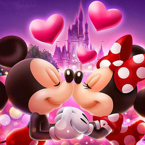 Kissing Mickey Mouse and Minne Mouse 5D DIY Full Drill Round Drill Diamond Painting