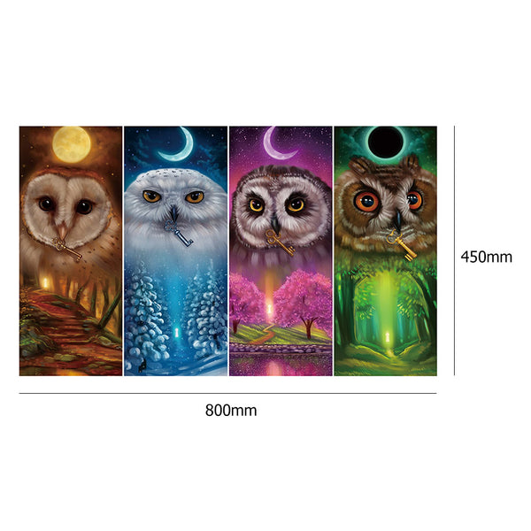 4 pcs-in one Combination DIY Full Drill Diamond Painting Four Seasons Eagles(80x45cm)