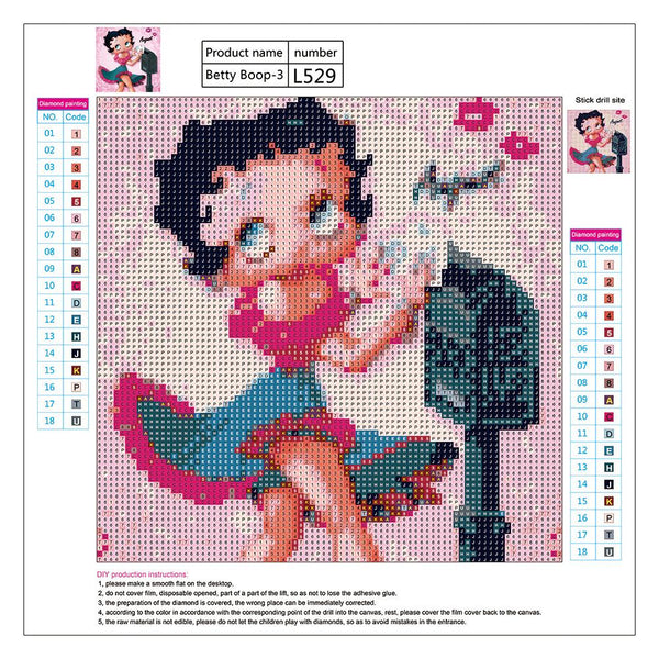 5D DIY Full Drill Diamond Painting Cute Cartoon Girl Cross Stitch Embroider