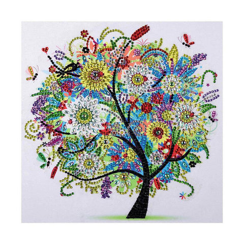 5D DIY Special Shaped Diamond Painting Colorful Tree Cross Stitch Embroider