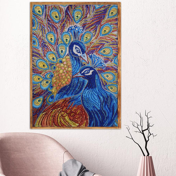 5D DIY Special Shaped Diamond Painting Peafowl Cross Stitch Embroidery Kits