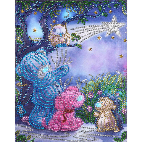 5D DIY Special Shaped Diamond Painting Cartoon Bears Cross Stitch Embroider