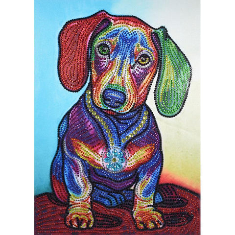 5D DIY Special Shaped Diamond Painting Colorful Dog Cross Stitch Embroidery