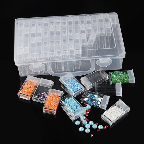 The best choice for managing all of your diamond- 64 Grid Clear Plastic Diamond Painting Beads Storage Box Drill Case Container