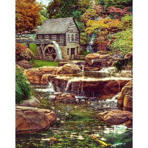 Waterwheel Chalet 5D DIY Full Drill Diamond Painting
