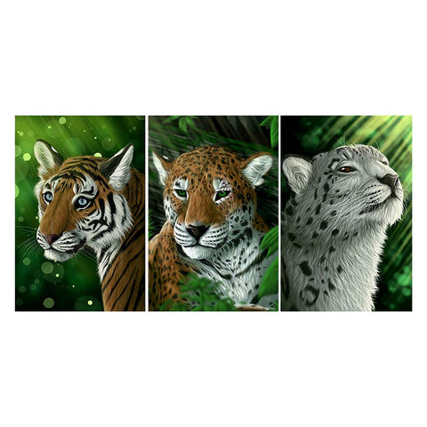 3 pcs-in one Combination DIY Full Drill Square Drill Diamond Painting Tiger(80x40cm)
