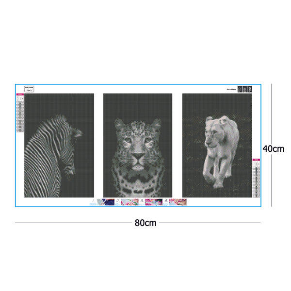 3 pcs-in one Combination 5D DIY Full Drill Square Drill Diamond Painting Lion Tiger(80x40cm)