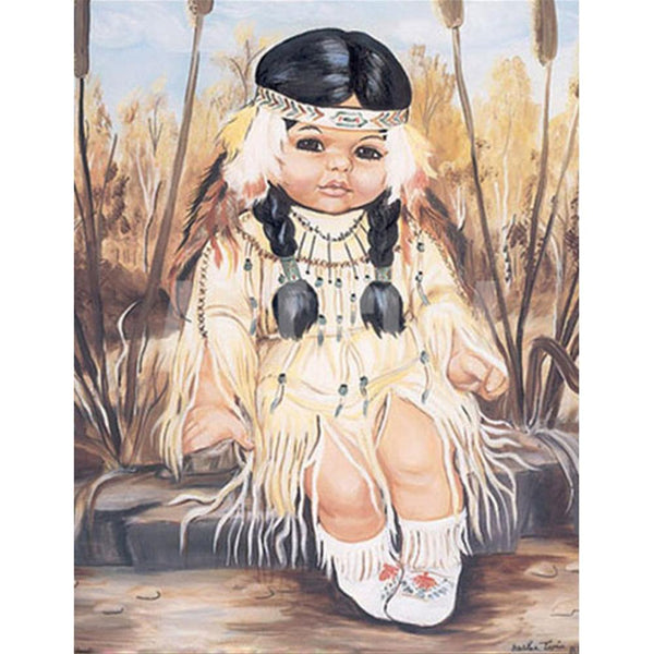 Village Indian Girl 5D DIY Full Drill Round Drill Diamond Painting