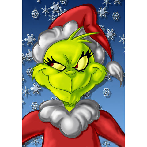 Green Face Monster Grinch 5D DIY Full Drill Round Drill Diamond Painting