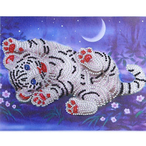 5D DIY Special Shaped Diamond Painting White Tiger Cross Stitch Embroidery