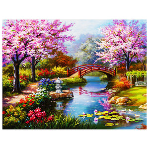 Red Bridge Flower Park DIY Round Drill Diamond Painting