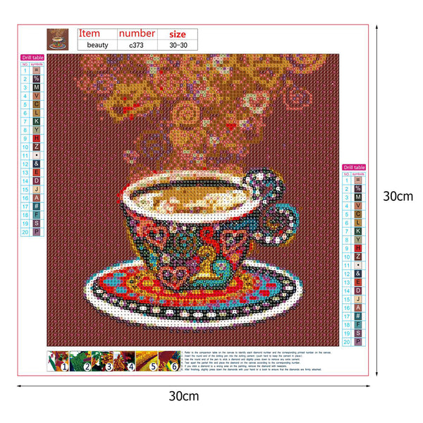 Love Coffee DIY 5D Full Drill Round Drill Diamond Painting