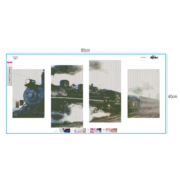 4 pcs-in one Combination 5D DIY Full Drill Diamond Painting Train Kits(80x40cm)