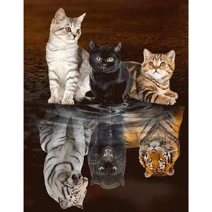 Cats or Tigers DIY Full Drill Round Drill Diamond Painting(55x45cm)