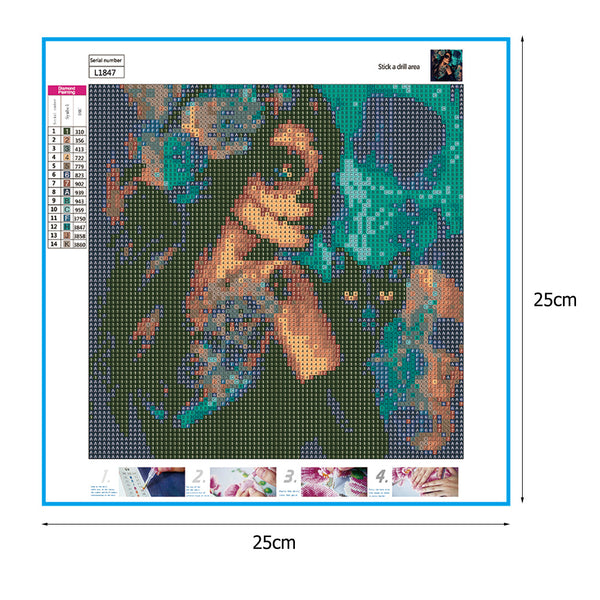 Skull Girl with Cat 5D DIY Full Drill Round Drill Diamond Painting