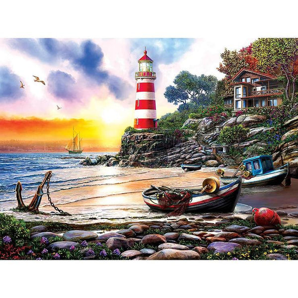 Seaside Lighthouse 5D DIY Full Drill Round Drill Diamond Painting