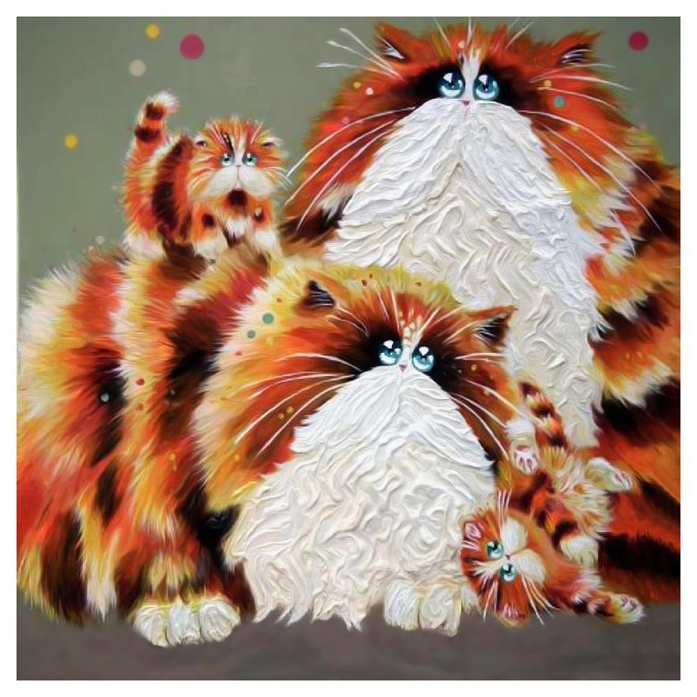 Cat Family 5D DIY Partial Drill Round Drill Diamond Painting