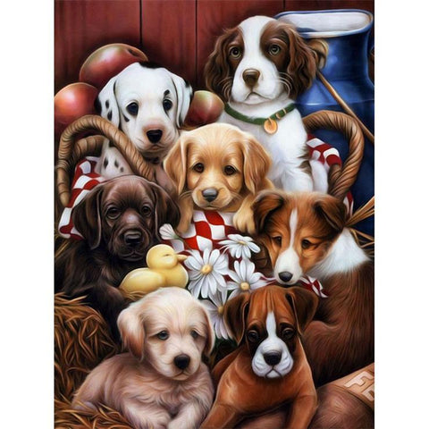 Dog Family 5D DIY Full Drill Diamond Painting