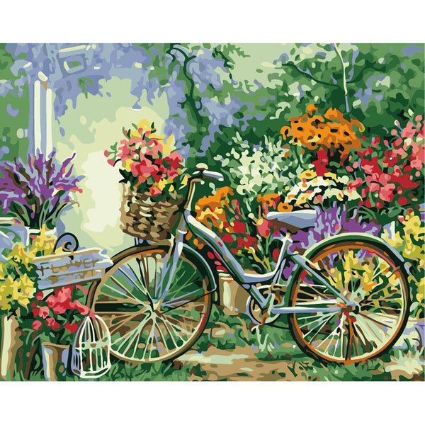 Bicycle in Garden 5D DIY Full Drill Round Drill Diamond Painting