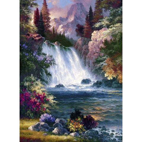 Waterfall Scenery DIY Full Drill Round Drill Diamond Painting