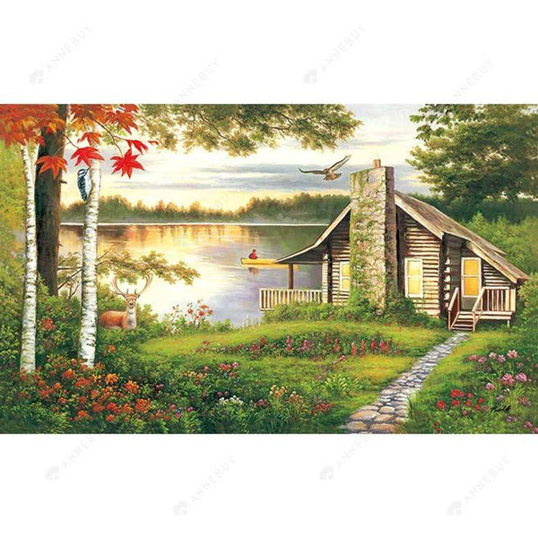 Lakeside Cabin 5D DIY Full Drill Round Drill Diamond Painting
