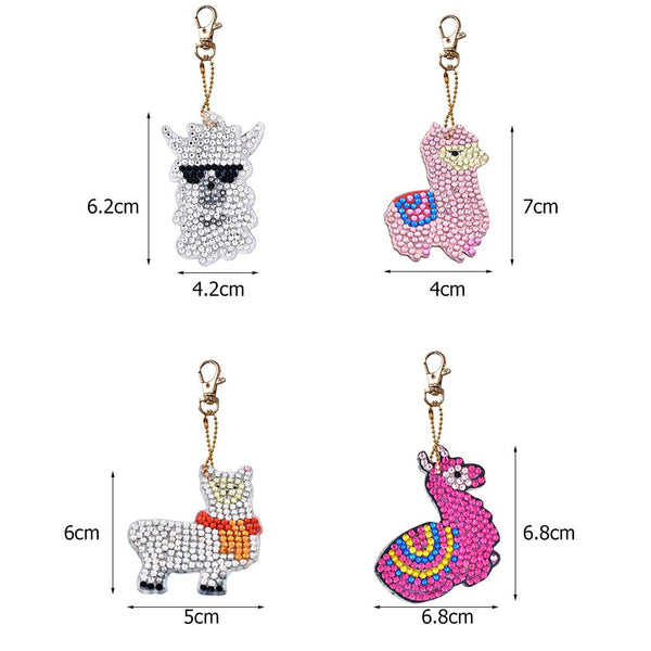 4pcs/Set DIY Diamond Painting Animal Resin Women Bag Keychain Jewelry Gift