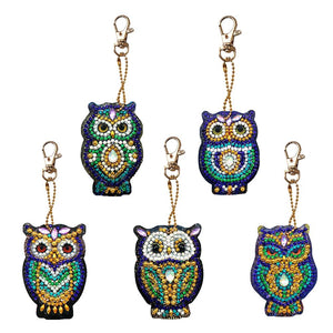 5pcs/Set DIY Full Drill Diamond Painting Key Chain Cartoon Bird Bag Pendant