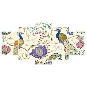 5 pcs-in one Combination Peafowl 5D DIY Full Drill Diamond Painting(95x45cm)