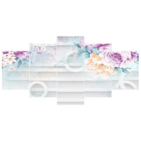 5pcs 5D DIY Full Drill Diamond Painting Flowers Embroidery Kit Home Decor
