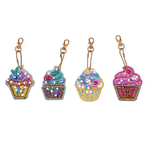 4pcs DIY Keychain Diamond Painting Cake Ice Cream Key Ring Pendant Gift