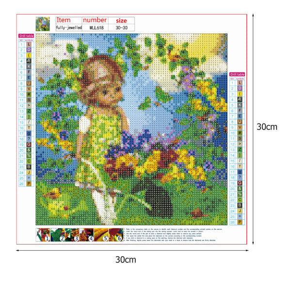 Garden Girl 5D DIY Full Drill Round Drill Diamond Painting