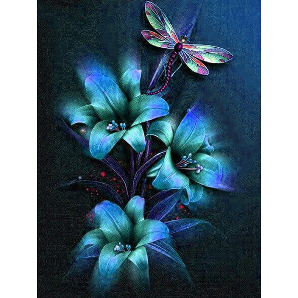 Flower and Dragonfly 5D DIY Full Drill Round Drill Diamond Painting