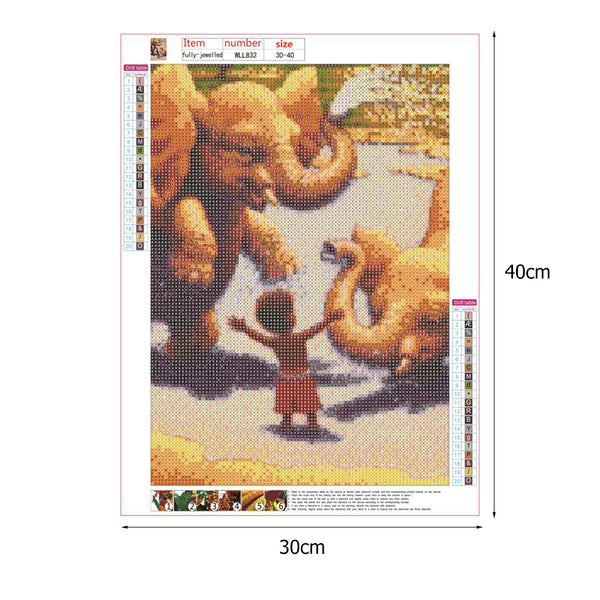 Elephant and Little Boy 5D DIY Full Drill Round Drill Diamond Painting