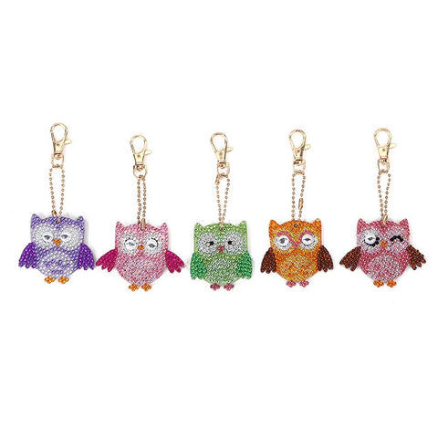 5pcs DIY Bird Full Drill Special Shaped Diamond Painting Keychain Pendant